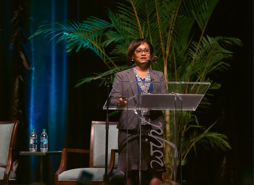 Addressing attendees at the 2018 Women's Leadership Conference.