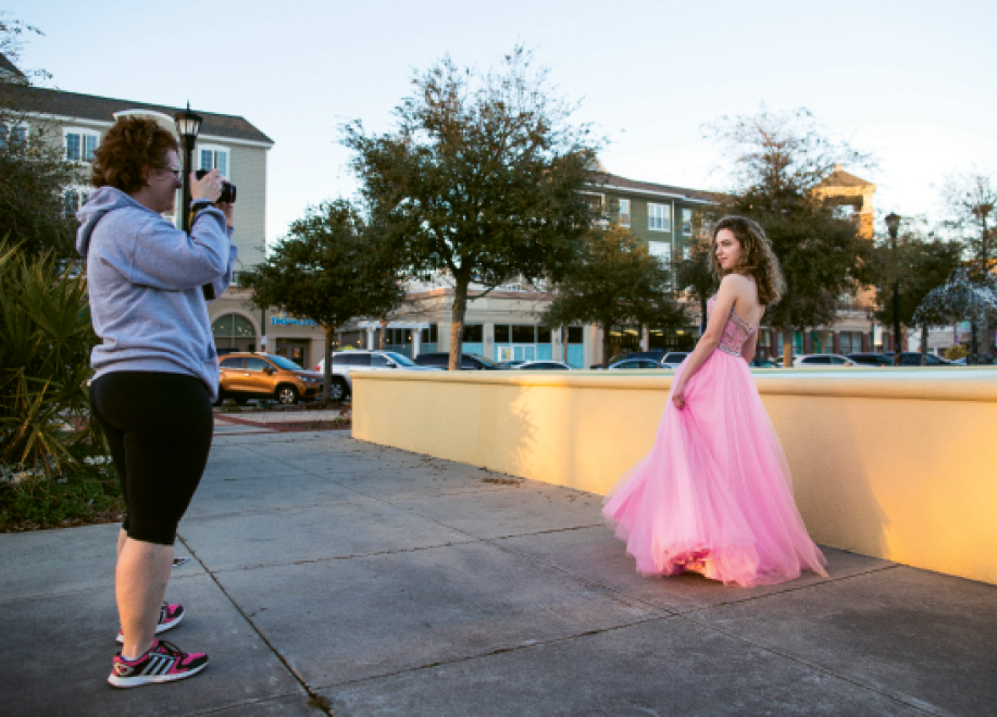 Brooke Surface of Myrtle Beach takes photos of her 15-year-old daughter, Caroline, for an upcoming beauty pageant.
