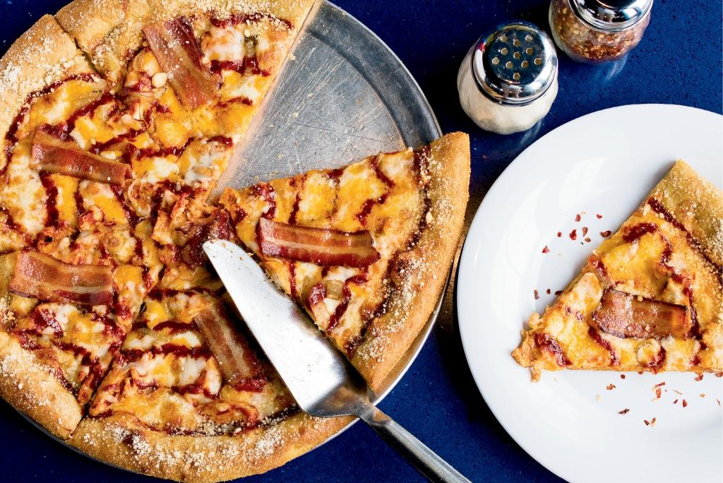 Mellow Mushroom's Funky Q. Chicken Pizza