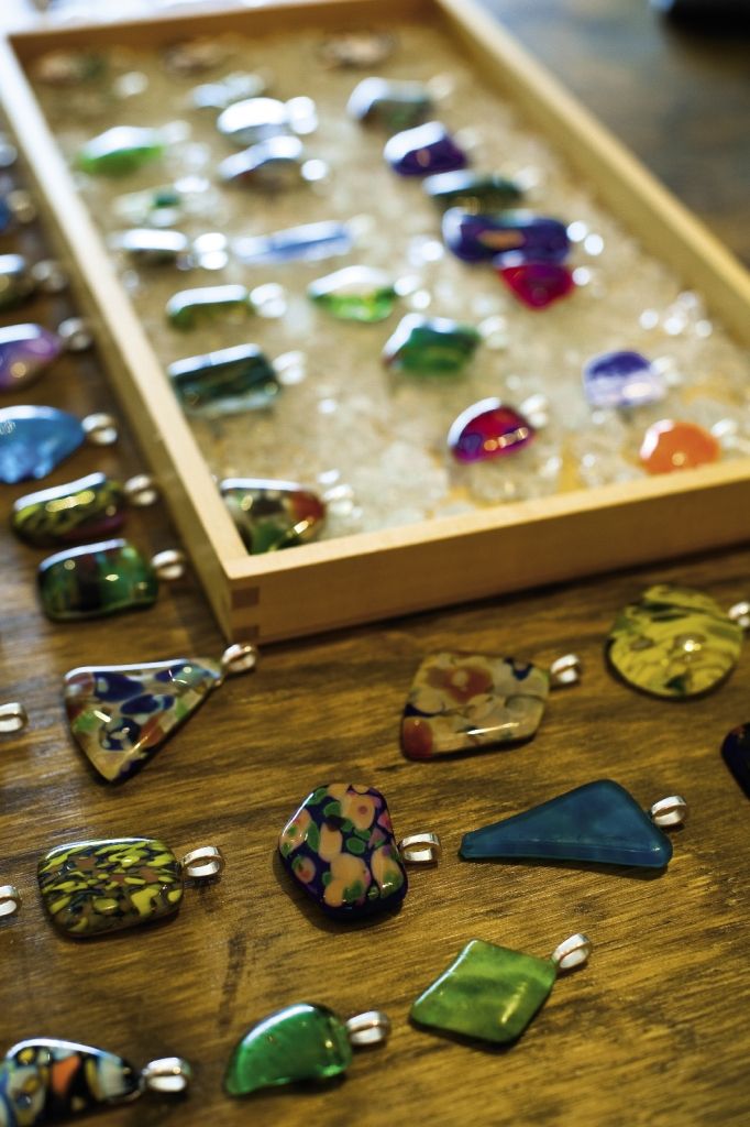 Pendants created from blown glass are unique in color, shape and design.