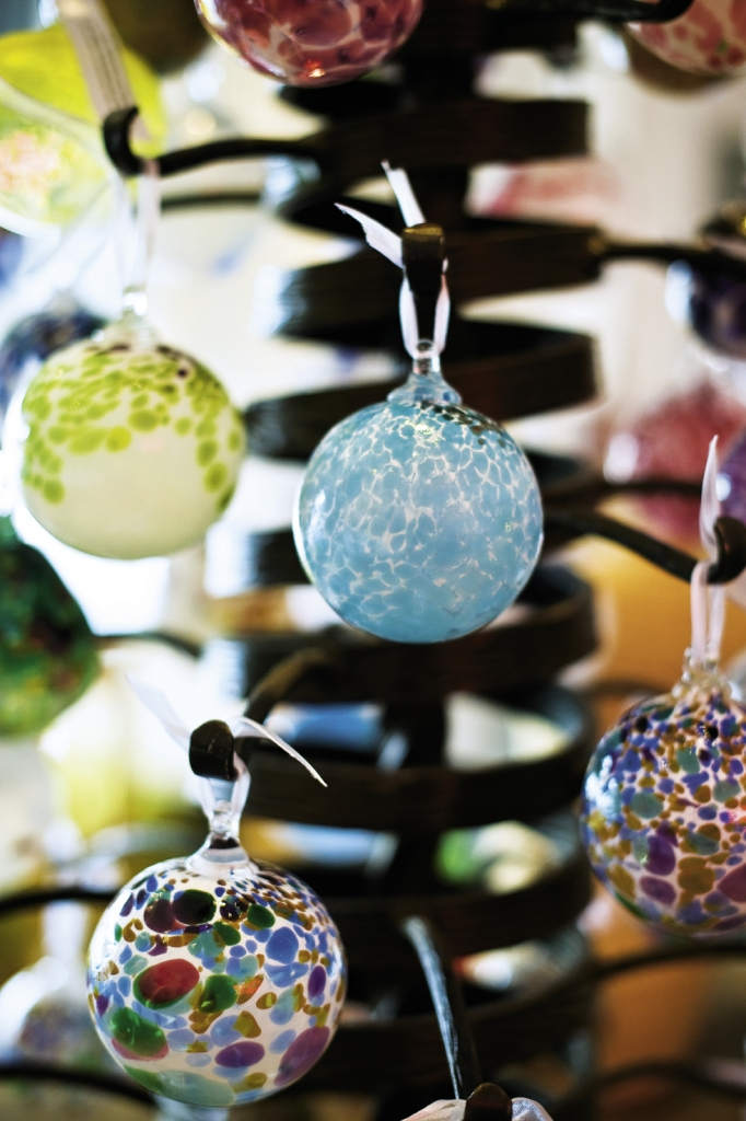 Hand-blown ornaments are for sale and are available for custom creation at workshops throughout the season.