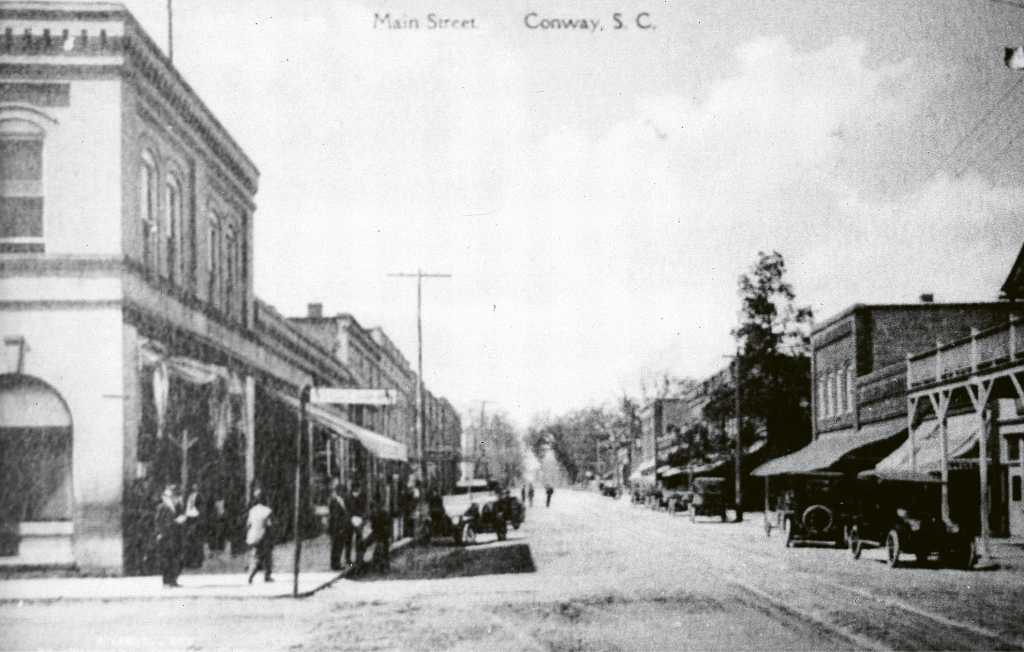 Downtown Conway in the early 1900s from Third Avenue looking north up Main Street.