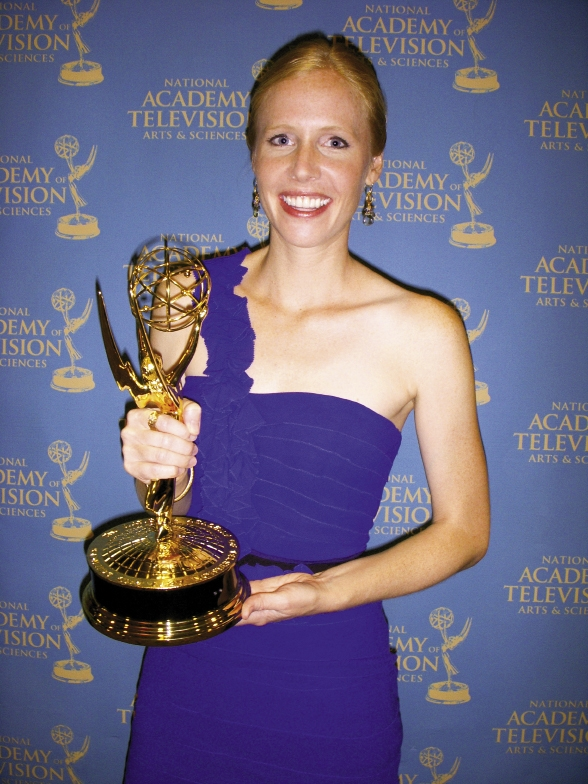 At The Top of Her Game: Newman with one of the show's two Daytime Emmy Awards for Outstanding Photography.