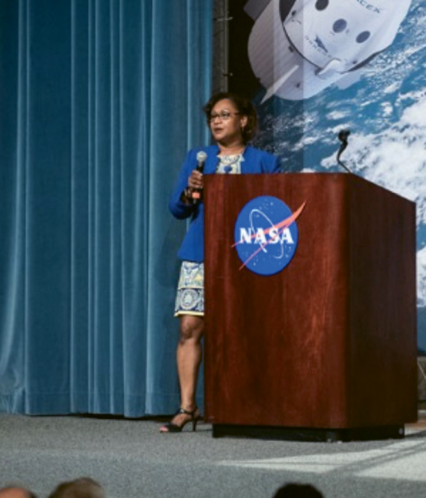 Speaking at a NASA event.