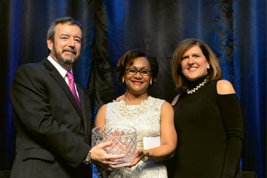 Wyche was honored at the 2017 CCU Celebration of Inspiring Women. She is pictured here with CCU Provost, Dr. Ralph Byington, and CCU First Lady, Terri DeCenzo.