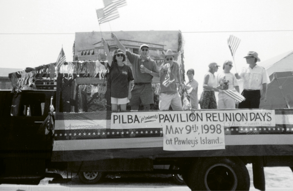 During the annual Pawleys Island Fourth of July Parade in 1997, a sign anticipated the first pavilion reunion, which was to be held in the spring of 1998.