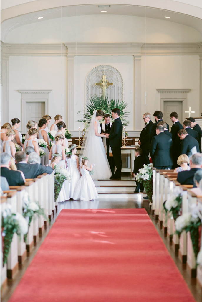 "Something Old: Bride and groom said ""I do"" and exchanged custom-designed rings in the sanctuary of First Presbyterian Church in Myrtle Beach, the church of their childhoods."
