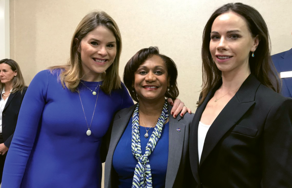 Wyche pictured with Jenna Bush Hager and Barbara Pierce Bush at the 2018 Women's Leadership Conference.