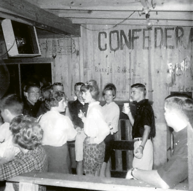 The Rivieras from Charleston often played at the pavilion and are shown above adding their name to a wall over the booths.