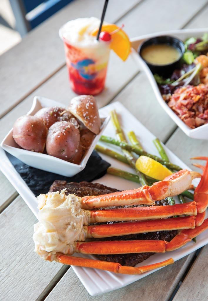 Steak & Snow Crab is a popular choice on the RipTydz menu.