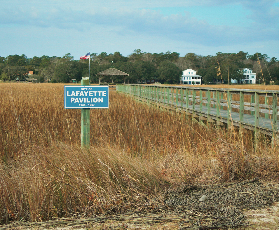 Today, only a sign remains to identify the site of the Lafayette Pavilion.