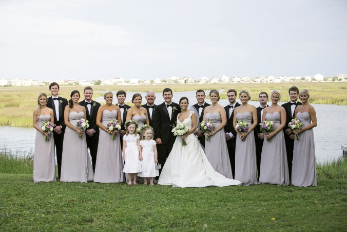 Creek Color Palette: From head to toe, aisle to dance floor, all elements for this wedding was creek-inspired.