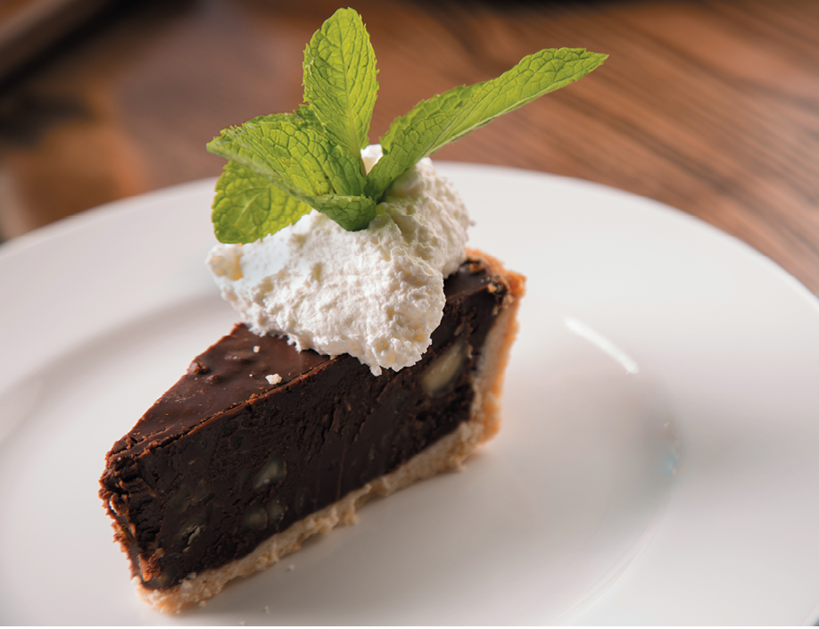 """Chocadamia"" dessert, featuring Ghirardelli chocolate, Maui macadamia and toasted coconut crust."