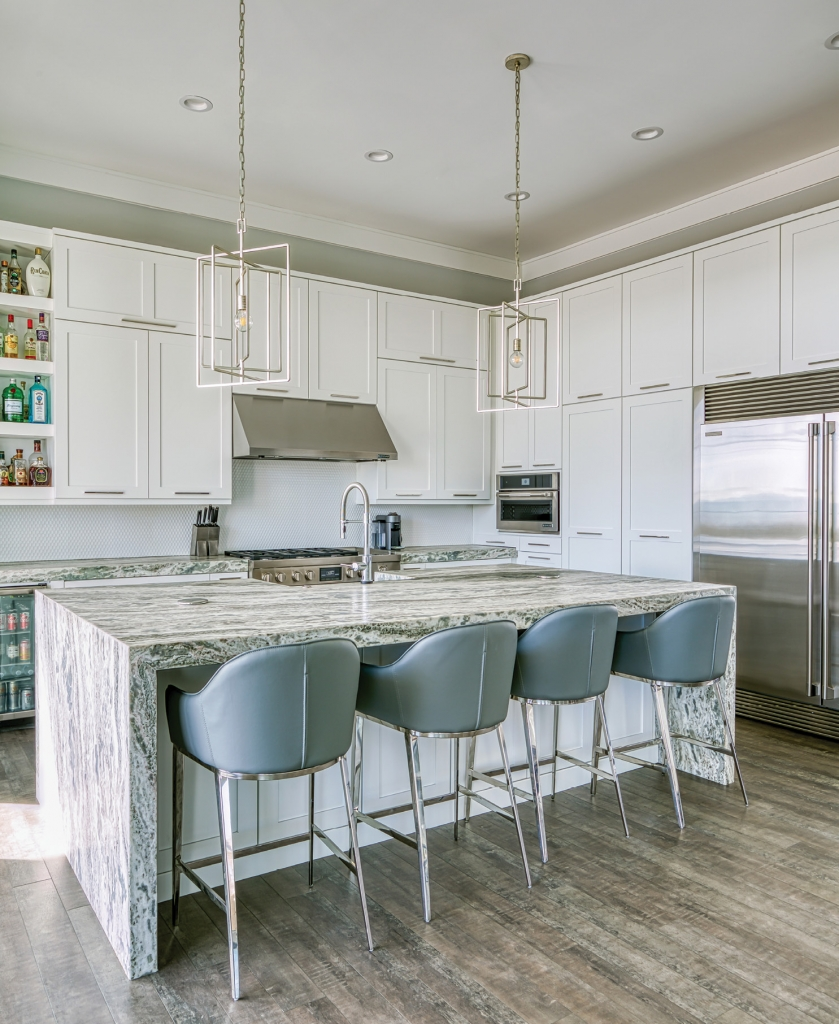 The DiCandios love entertaining in their sleek, metro-coastal kitchen.