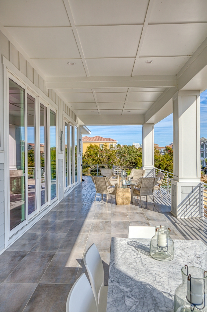 The DeCandios' luxury, modern oceanfront home is swept up into shades of gray, inside and out.
