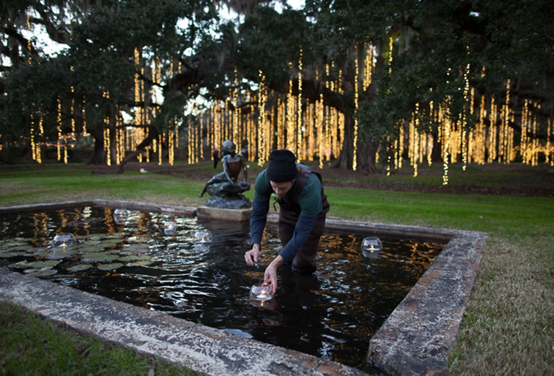 The Brookgreen Gardens staffers are a crucial part of making the Nights of a Thousand Candles possible. Each night, 40 volunteers light candles in the gardens and escort people throughout the event. One of the main features is the 80-foot-tall tree lit with more than 72,000 LED lights. The best part? The tree is lit in a ceremonial treat every evening at 5:45 pm.