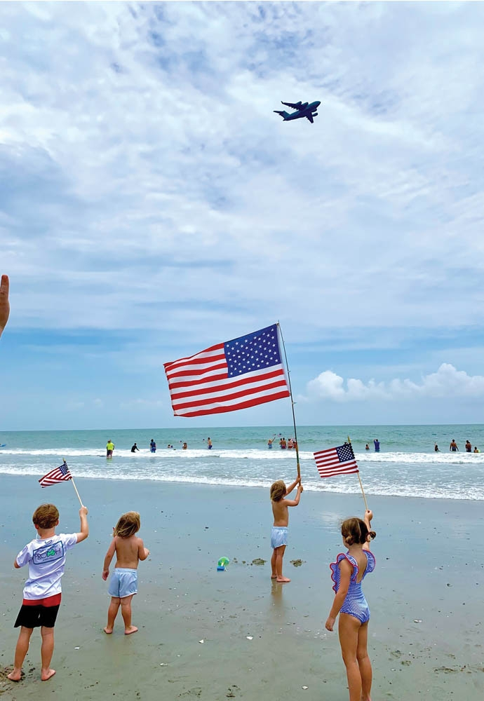 Hit any beach in South Carolina on the Fourth of July for a spectacular flyover spectacle.