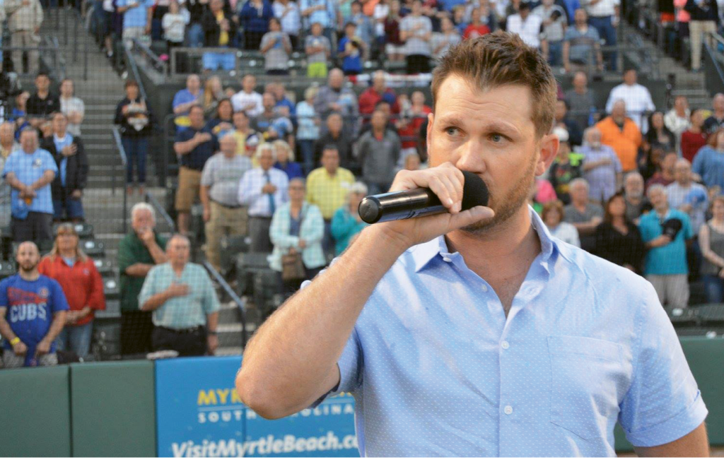 Rice was back in Myrtle Beach in April and sang the national anthem at opening night for the Myrtle Beach Pelicans