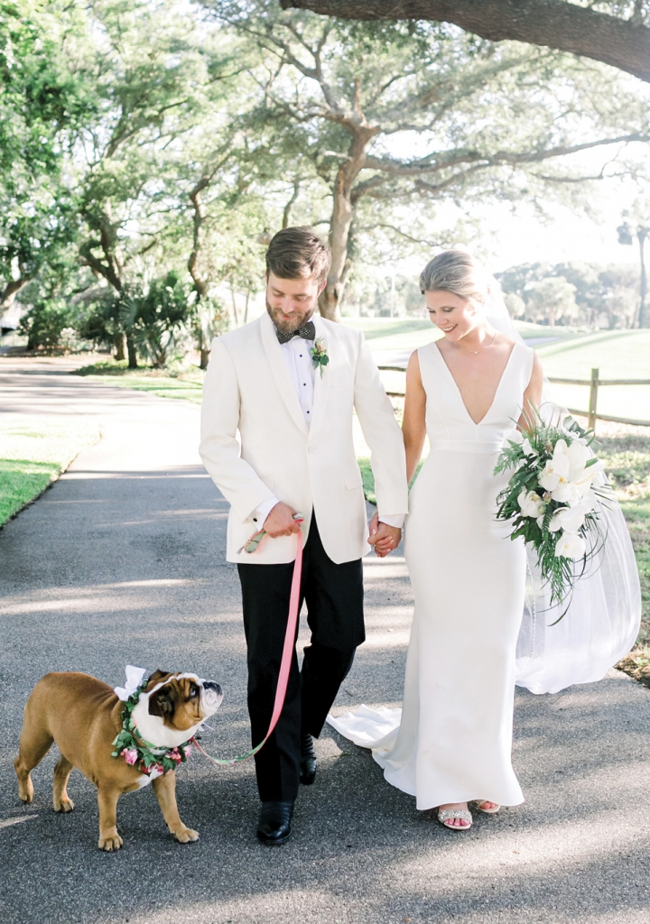 Puppy Love: The newlyweds' English bulldog, Heather Penelope, was a big part of the Big Day.