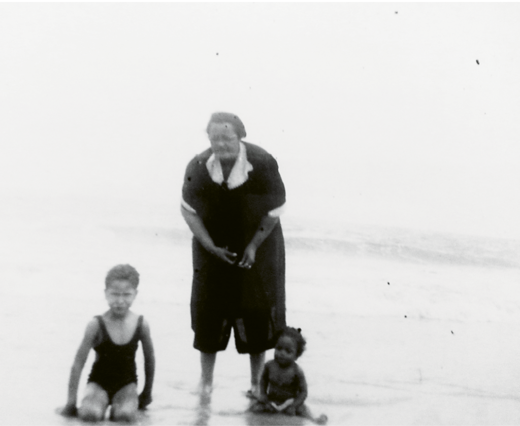 Mrs. Annie Rivers Manigault, grandmother to Walter Manigault Jr. and Anthony Hurley, at the Atlantic Shoreline.