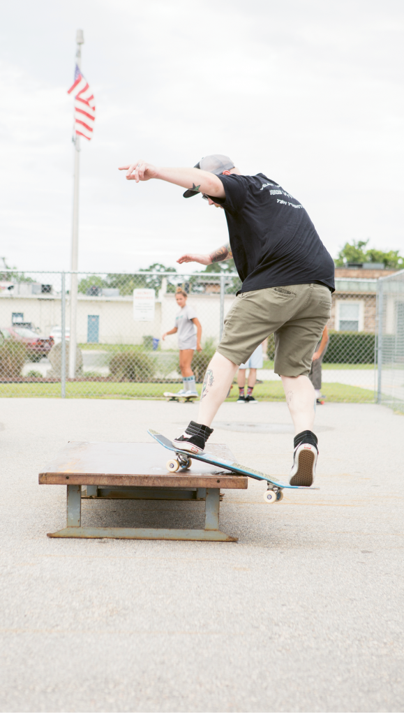 Aaron Wright Wright skates with the Ten Twenty-five team at a local skate spot in Surfside Beach.