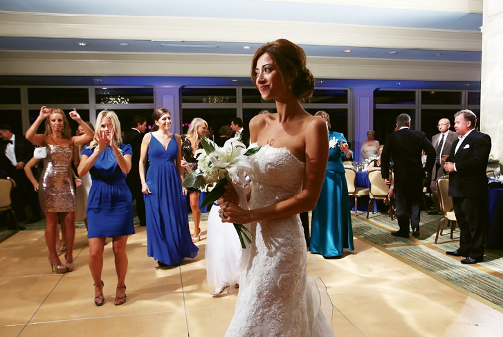True Blue: Victoria wove brilliant blue in with her wedding theme of classy, traditional and intimate.