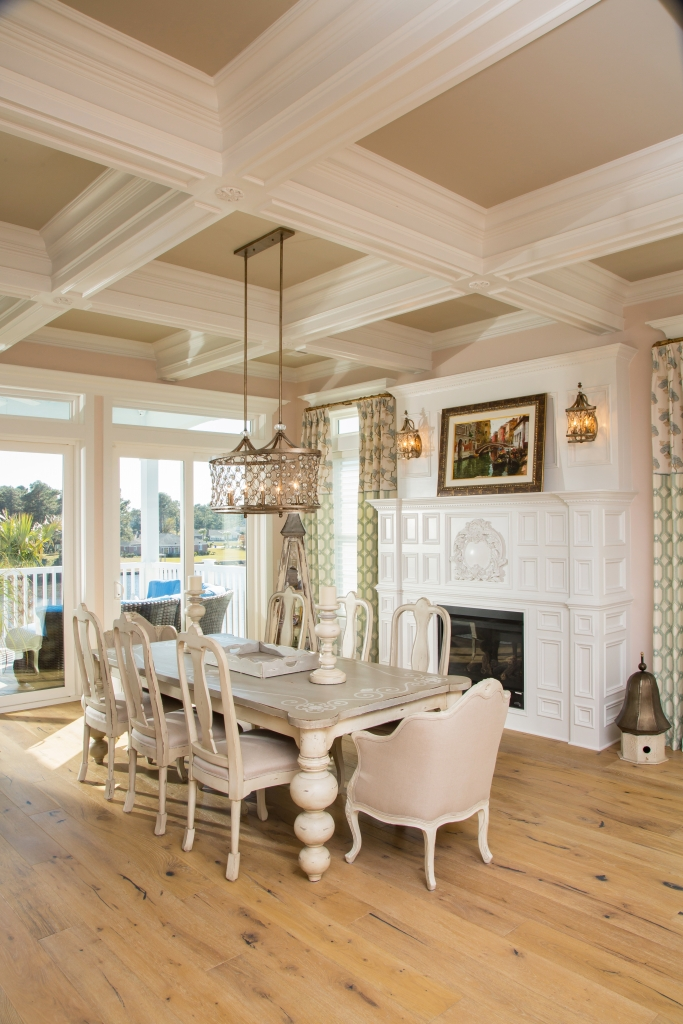 The Wonders Of Woodwork: The dining area alone is a master class in woodwork with coffered ceilings, fireplace cladding and hickory flooring.