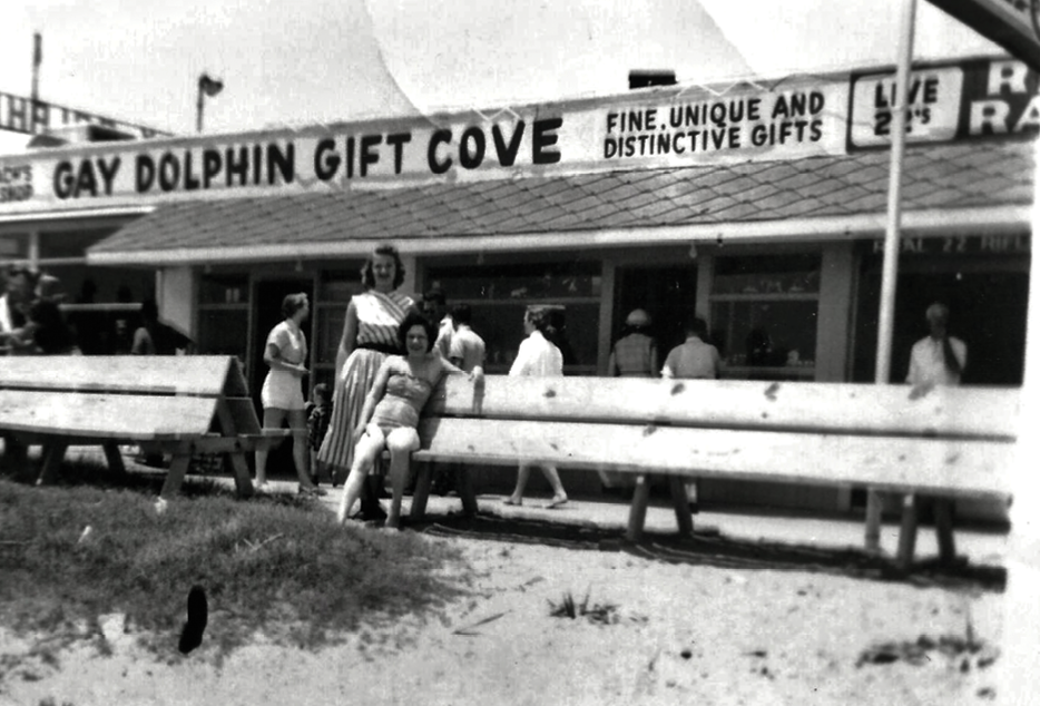 Kay Plyler Brandon, daughter of the Gay Dolphin founders, stands in front of the store in the 1950s.