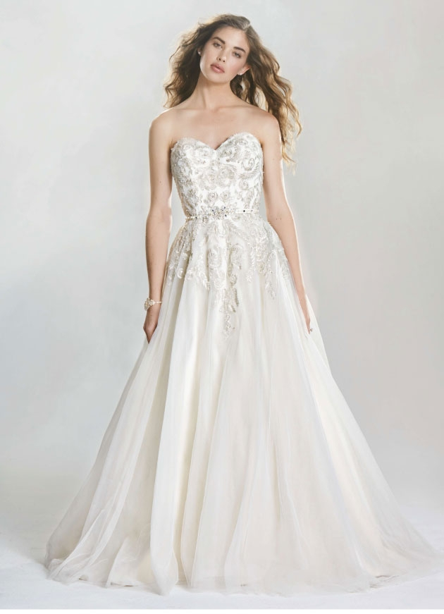southern sweetheart A sweetheart neckline and intricately beaded metallic lace on this tulle Lillian West ballgown with detachable grosgrain belt make this gown classic with a whimsical twist.  The Little White Dress, $1,257