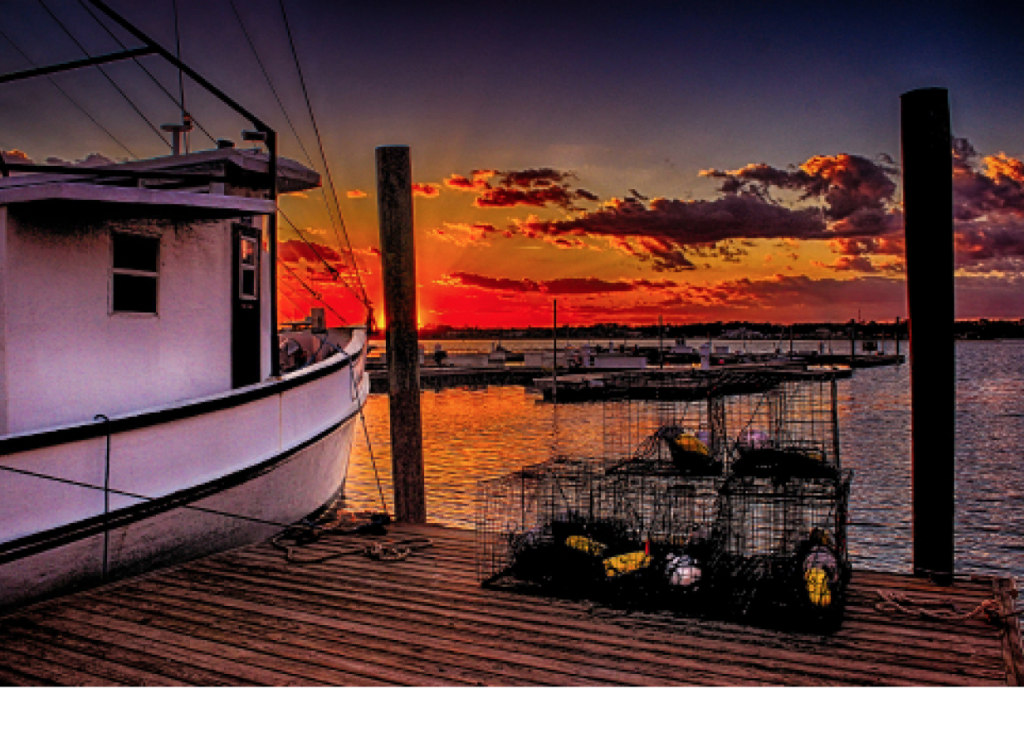 Shrimper Sunset Ed Roberts Marlin Quay Marina, Garden City