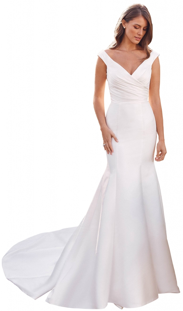 Justin Alexander - The off-the-shoulder Anastasia gown features a trumpet silhouette with a pleated bodice for an elegant look.  The Little White Dress; price available upon request