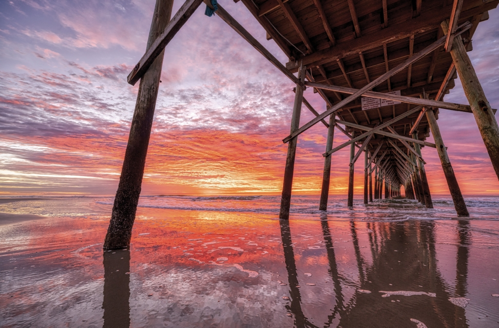 A Sunrise Color Explosion - Leslie Nolan - Sunset Beach Pier