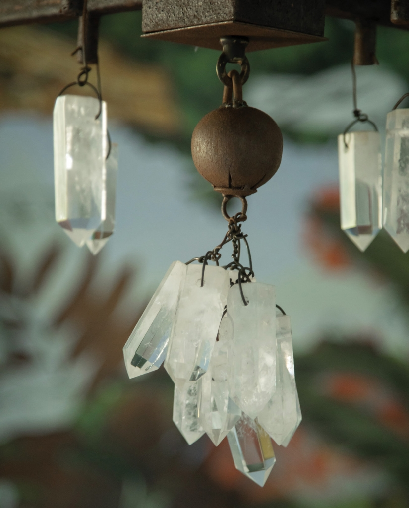 Good Romance: Dangling crystals from the chandelie.