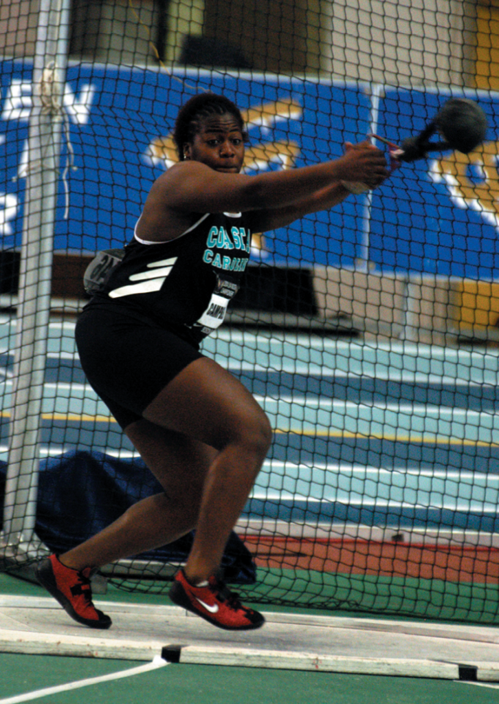 Campbell first competed in the hammer throw event on the CCU track and field team. She was actually recruited for shot put and discus.