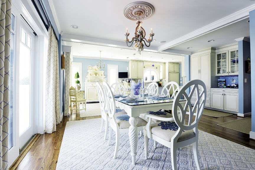 """With the help of Charlotte-based interior designer Connie Knowles Morgan, """"Ocean Memories"""" pays tribute to its incredible surrounds with a palette that echoes the blues and greens of the Atlantic, beach sand and hits of red coral."""