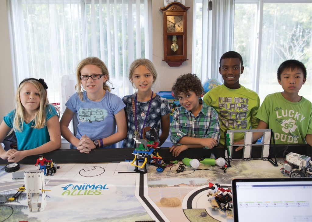 "The ""New Kids On the Bots"" are (from left to right) Kendall Williamson, 8; Kaelyn Williamson, 10; Olivia Nelson, 10; Trent Toole, 10; Jayden Johnson, 10; and Alan Bao, 11."