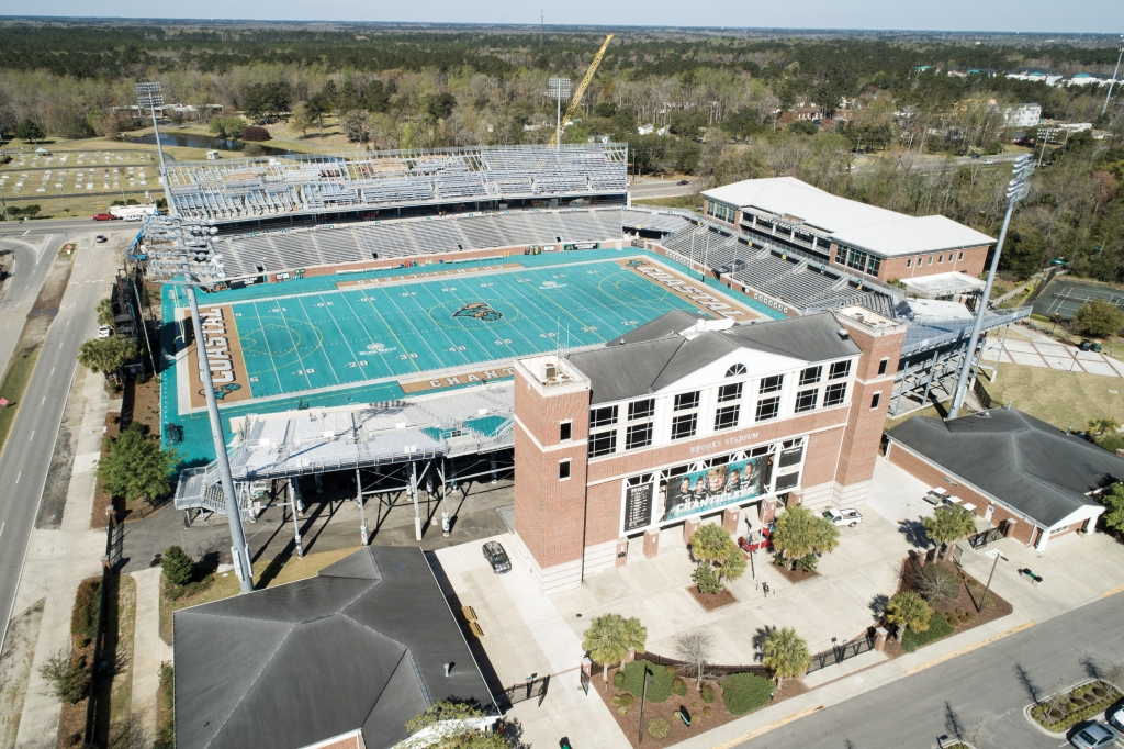What a home!: Brooks Stadium, named for the children of benefactor Bob Brooks of Hooters' fame, seats 21,000 and is vastly larger than its predecessor.