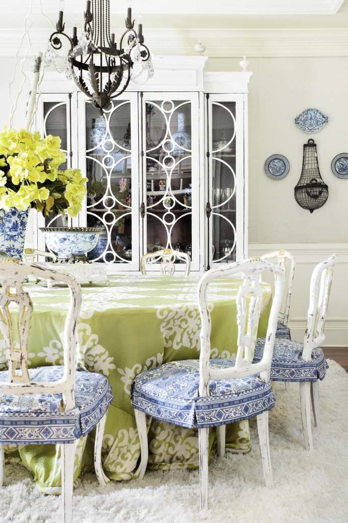 The formal dining room in the Grigg home smacks of Provence.