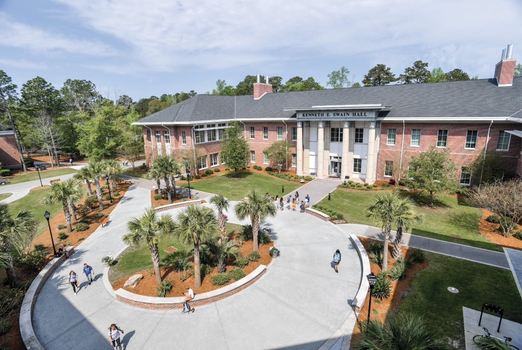 On Campus: The ever-growing campus of CCU in Conway is a far cry from its humble beginnings in borrowed classrooms of 1954. Today, nearly 11,000 students are enrolled.