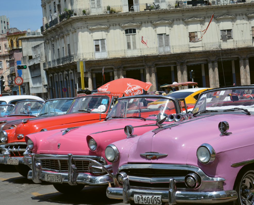 Colorful vintage automobiles are commonplace in historic Havana.
