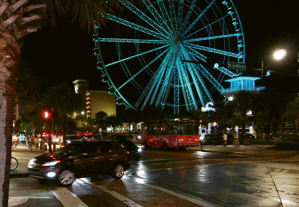 A busy downtown Myrtle Beach enjoys a heavy police presence to help keep the peace.