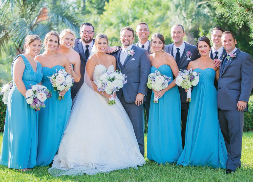 The flowing Greek blue bridesmaid dresses