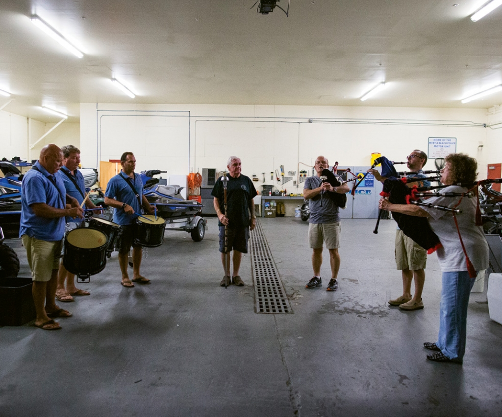 Although they have decades of experience, the Shields Pipe and Drum Band members maintain their sharp edge by practicing diligently every Tuesday at The Market Common firehouse.