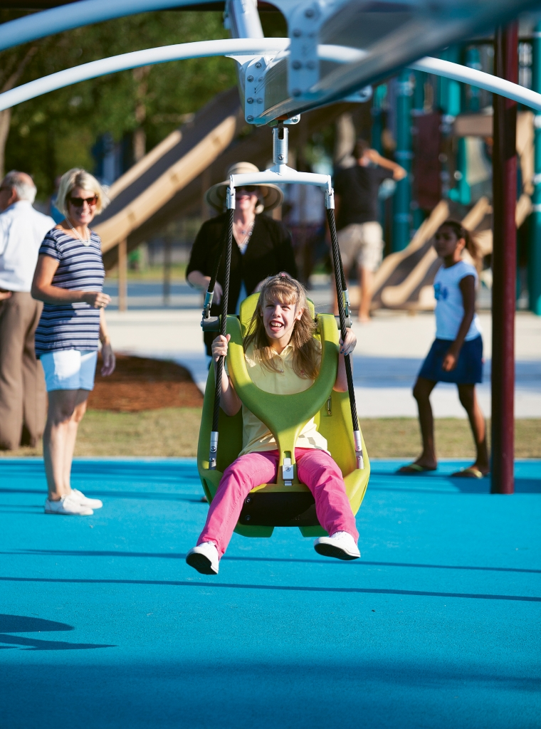 "Savannah's Playground features state-of-the-art, fun- for-all-abilities and ADA-approved playground equipment, making it one of the largest such ""inclusive"" parks in the Southeast."