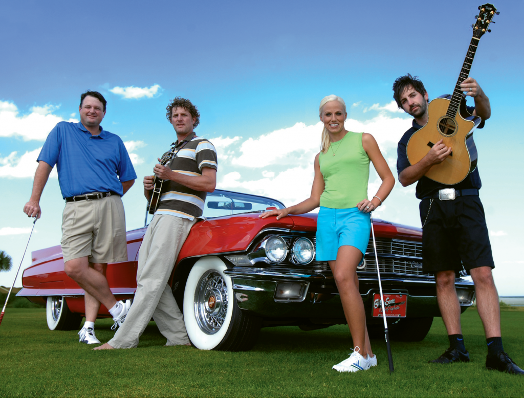 Rymer is pictured here in 2008 with the celeb cast of Road Trip: Myrtle Beach—Hootie & the Blowfish band member Mark Bryan, professional golfer Perry Swenson and musician Josh Kelley.