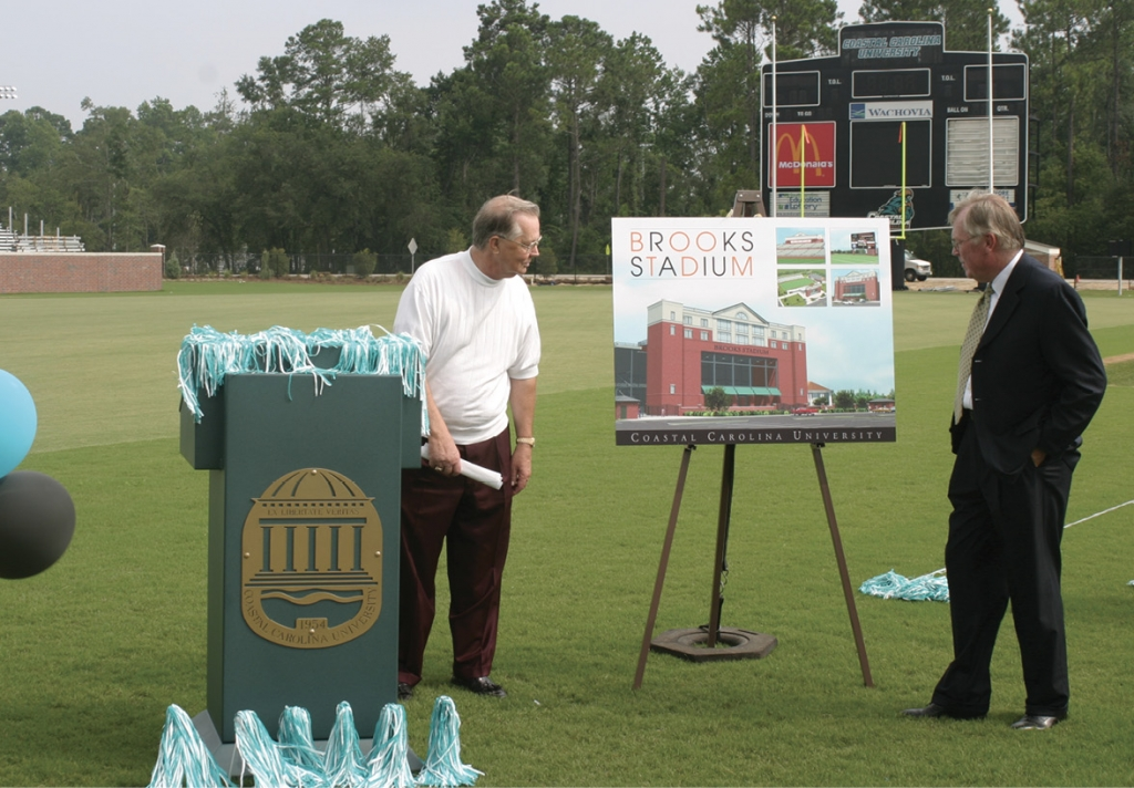 Brooks (left) and former CCU President Ronald Ingle (right) at the 2003 dedication of Brooks Stadium.
