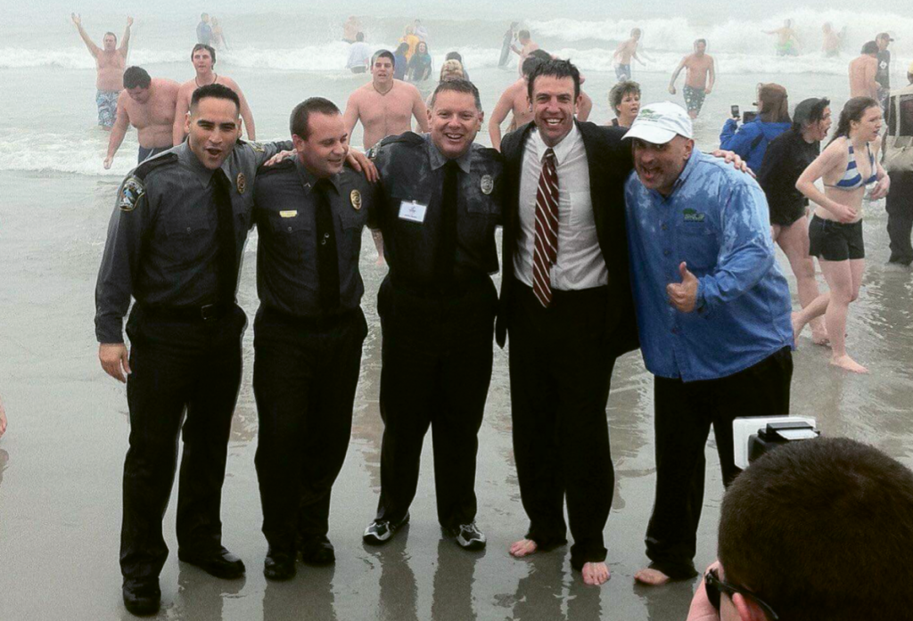 Piotrowski makes about 150 appearances a year at local charitable events, like the annual Polar Plunge (wearing his full suit).