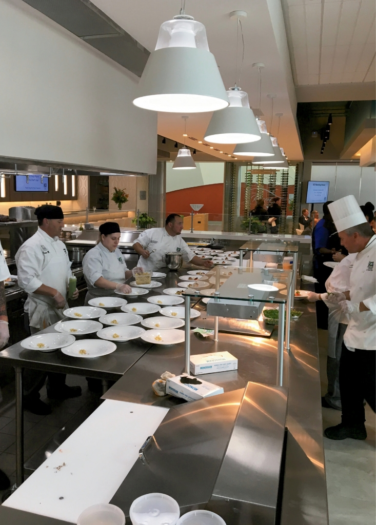Faculty-supervised student chefs prepare lunch and dinner at the Fowler Dining Room in the new ICI.