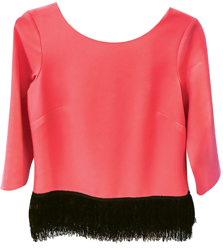 Fringe with Benefits Black fringe adds a little drama to this Sail to Sable top. $188. Pink Cabana