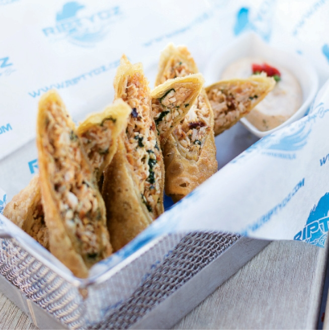 Wicked design is the norm in the interior layout and the menu, with upscale beach munchies like the hand-rolled Smoked Gouda Chicken Egg Rolls